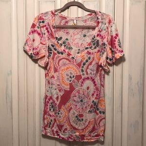Free People V Neck with Flutter Sleeves